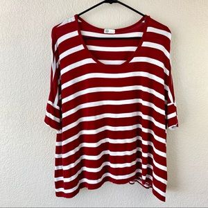 {AG} Maroon Striped Top
